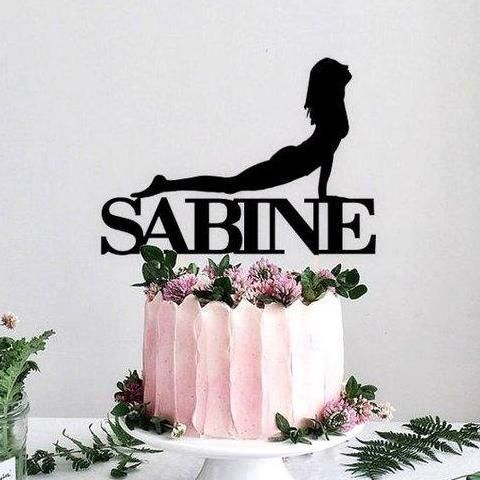 Yoga Pose Cake Topper With Personalized Name Cake Toppers Sports Cake Topper Personalized Cake Toppers