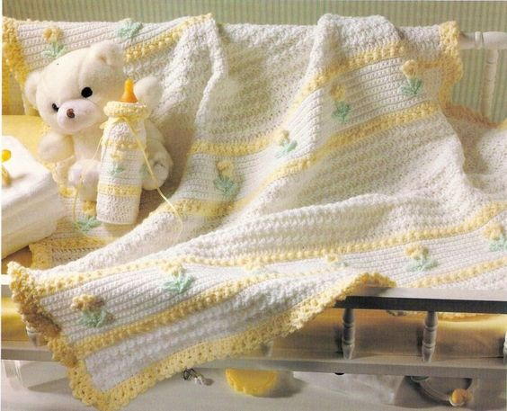 PRETTY Floral Ensemble Baby Afghan/Crochet Pattern