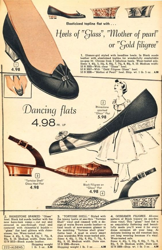 shoes from Aldens Catalog 1956-57 #vintage #fashion #shoes #1950s:
