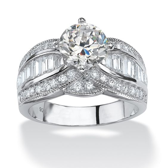 3.84 TCW Round Cubic Zirconia Platinum over Sterling Silver Engagement Anniversary Ring at PalmBeach
