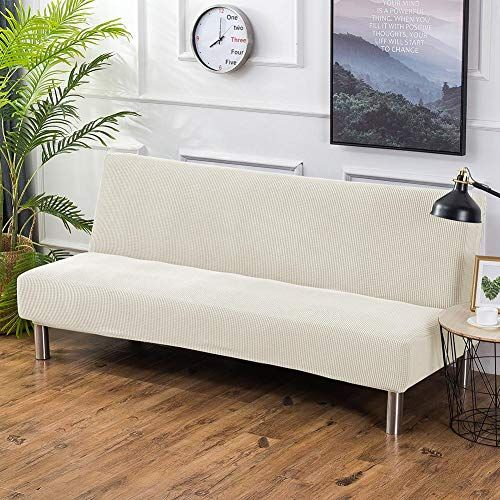Knit Thicker Futon Slipcover Elastic Armless Sofa Cover Solid