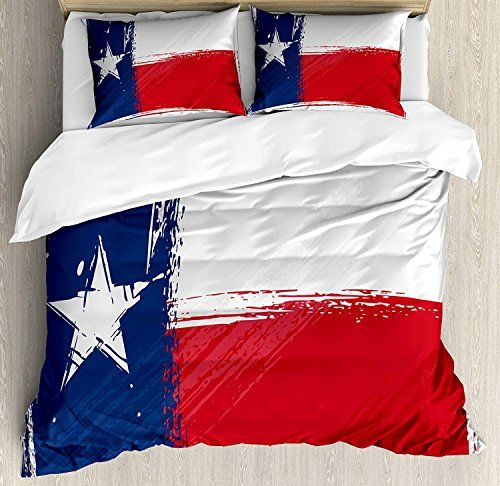 Texas Star Twin Bedding Duvet Cover Set 4 Piece Hotel Quality Luxury Soft Brushed Microfiber Grunge Bed Linens Luxury Full Bedding Sets Country Bedding Sets