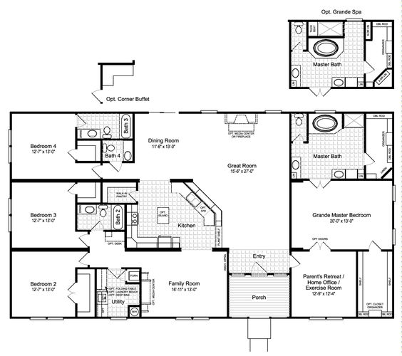 Haciendas palm harbor homes and floor plans on pinterest for 5 bedroom 3 bath mobile home