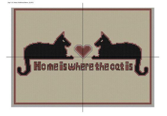 Cross Stitch Pattern Cat Home is Where PDF Download House Decor Housewarming Feline
