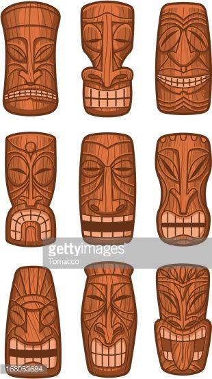 Hawaiian tiki god statue carved polynesian tikki ku lono