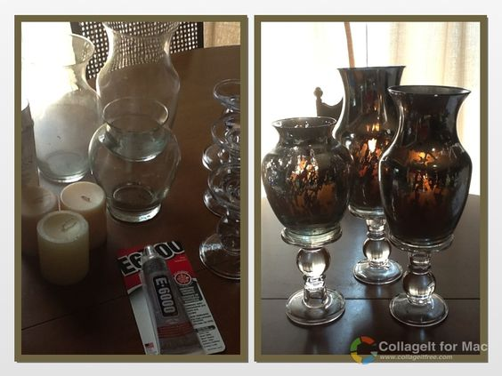3 glass vases from a thrift shop 3 candlestick holders