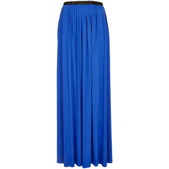 TOPSHOP Blue Jersey Pleated Maxi found on Polyvore