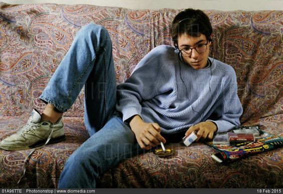 teen boy masterbates with pants on