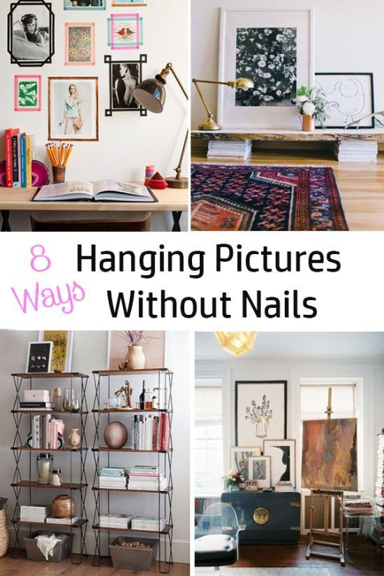 Hanging Pictures Without Nails 8 Ways The Honeycomb Home Hanging Pictures Without Nails Hanging Pictures Apartment Decorating Hacks