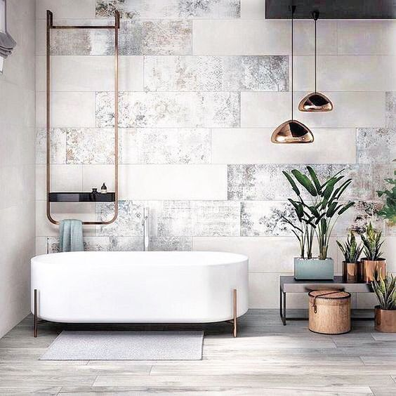 Gorgeous space inspiration post industrial plaster and stone with sophisticated pastel tones hints of gold and greenery via @actilingandstone #interior #interiordesign #bathroom #tiler #industrial #glam #home #style #decor #inspiration #asthetics #bath #building #architecture #styling