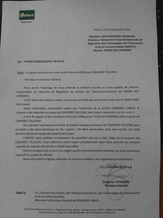 Comores Télécom coupe l'internet à Telma
