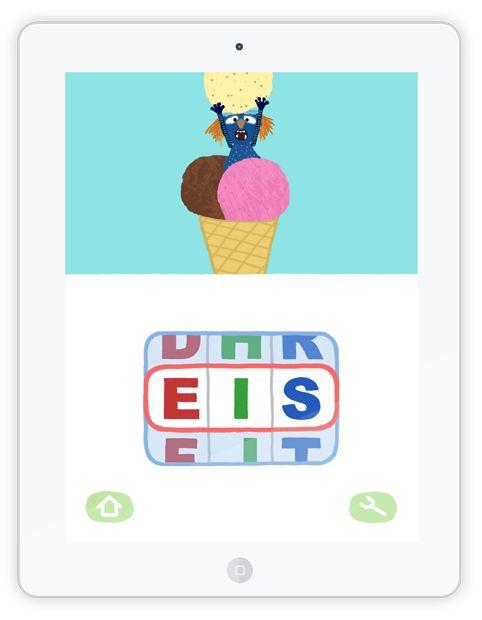 """Die """"ABC Maschine"""" bringt Kindern spielerisch Buchstabieren bei. Kurze Wörter mit 3 Buchstaben sollen richtig buchstabiert werden. Macht man alles richtig, folgt eine witzige und überraschende Animation als Belohnung."""