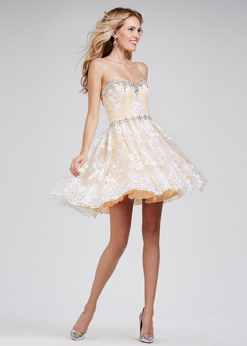 Embroidered Crystal Lace Fitted Flare Ivory Nude Homecoming Dress ...