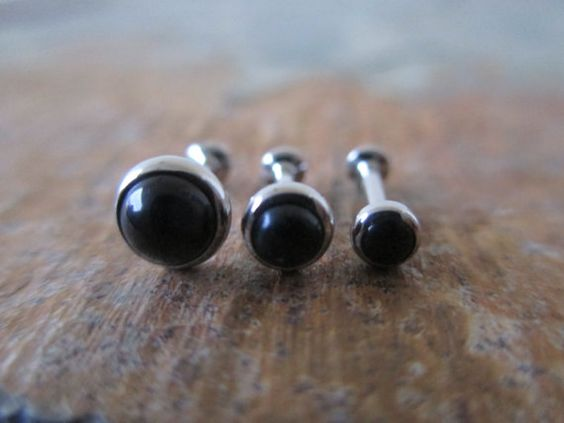 Black Onyx Stone Cartilage Flat-Back by BohemianBodyJewellry