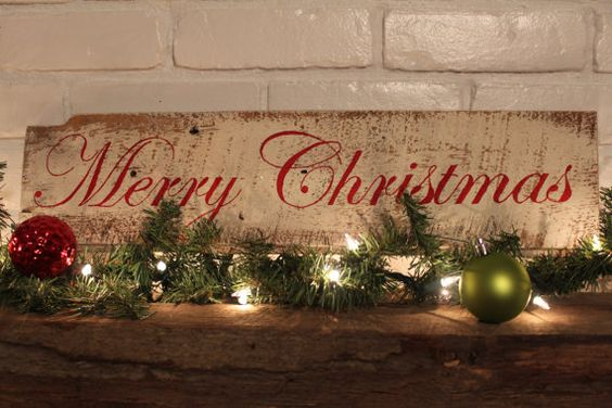 Ready To Ship Reclaimed Barnwood Merry Christmas Sign in Red Letters