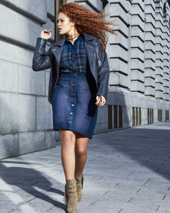 Addition Elle Fall 2016 - L&L Plaid Top with Faux-Leather Jacket and Denim Skirt