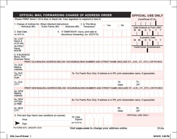 USPS Change of Address Form PDF 3575 Download