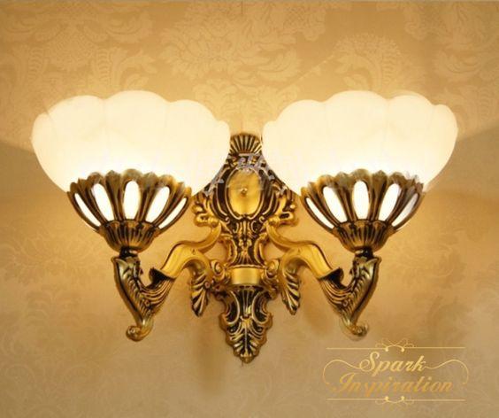 Goedkope , koop rechtstreeks van Chinese leveranciers:      Mode ijzer dubbele slider wandlamp bloemen vintage rustieke brons gang lampen e27 110v-220v wandlampen bed- verlichtingGratis verzending amerikaanse ijzeren mu