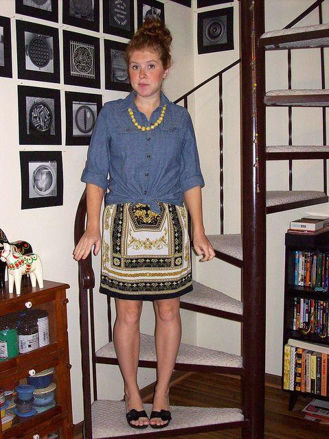 chambray shirt, scarf print skirt, black sandals
