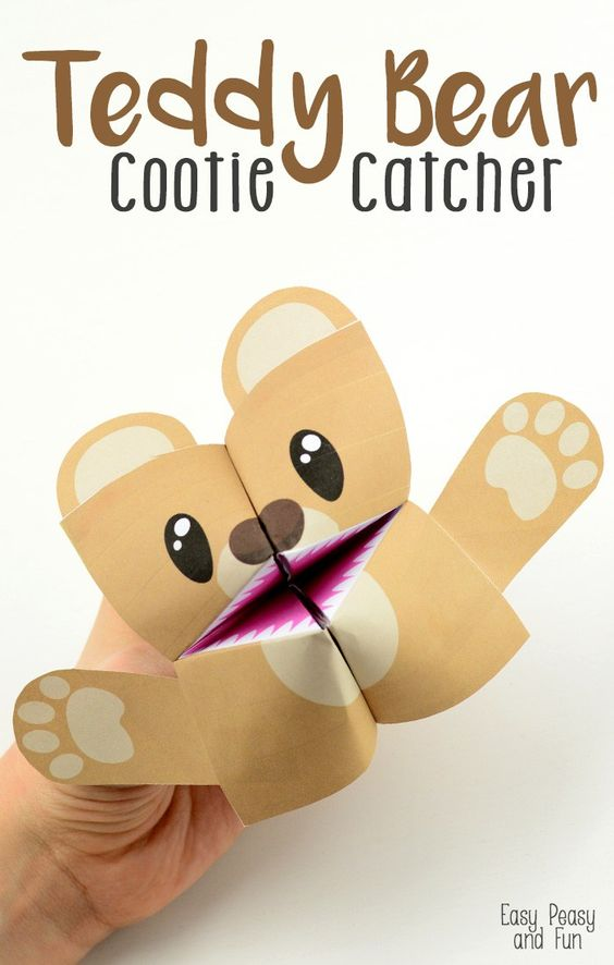 10-Paper-Crafts-For-Kids-Teddy-Bear-Cootie-Catcher: