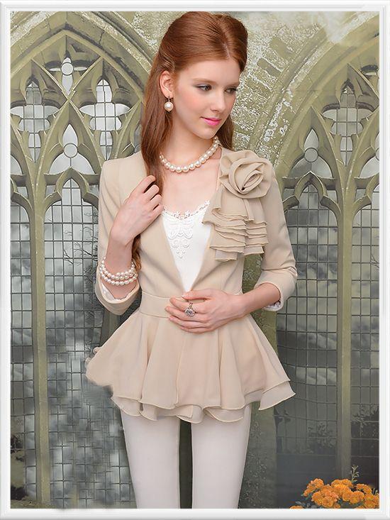 Morpheus Boutique  - Tan Ruffle Rose Layer Celebrity Long Sleeve Jacket