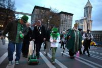 Irish paint Seattle street green for St. Patrick's Day