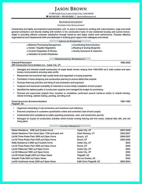 Enterprise Project Management Resume Resume Pinterest - construction superintendent resume