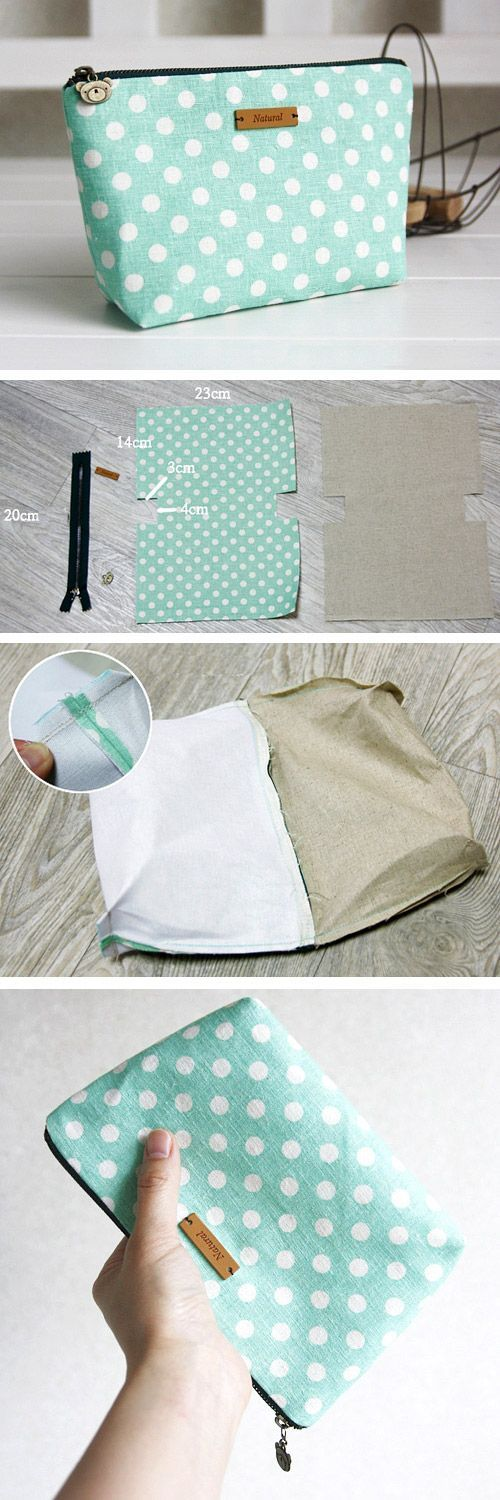 Natural linen and cotton cosmetic bag, linen zipper pouch. DIY tutorial in pictures.