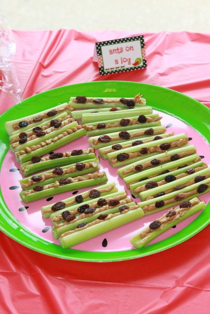 Ants on a log. i always make this for my mom, she loves them! with just 3 simple ingredients: celery, peanut butter, and raisins.