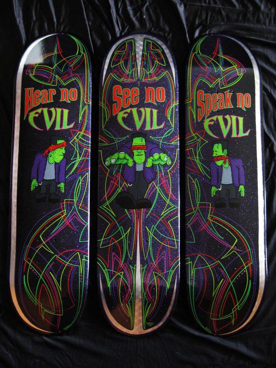 """Custom Skateboard Deck set called """"3-NO-EVIL"""""""