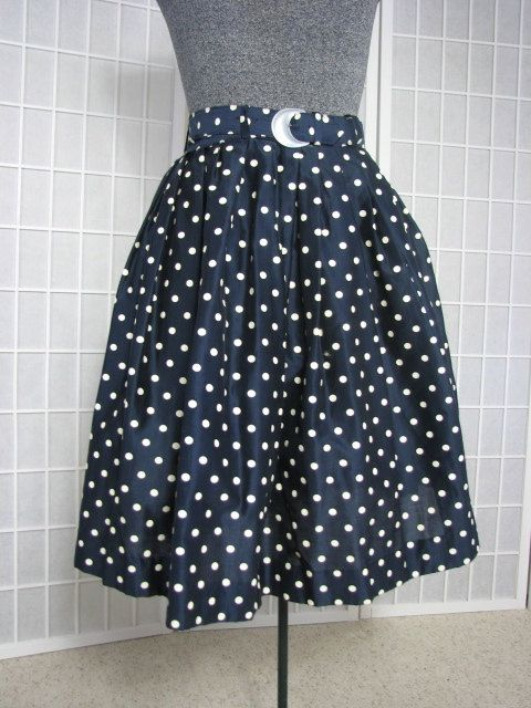 1960s Navy and Ivory Polka Dot Skirt with by AliceBlueGownVintage