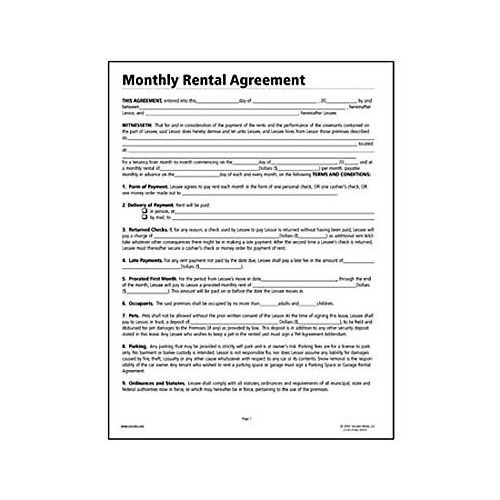 Printable Sample Free Lease Agreement Forms Form – Monthly Rental Agreement
