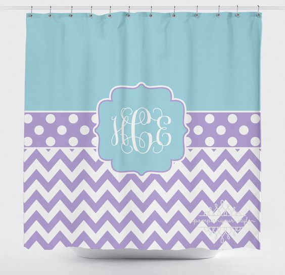 Blue And Lavender Chevron Shower Curtain Custom Monogrammed Curtain Any Color Design Your Own