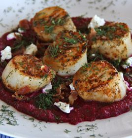 Scallops with Beet Puree, Goat Cheese, Bacon and Dill