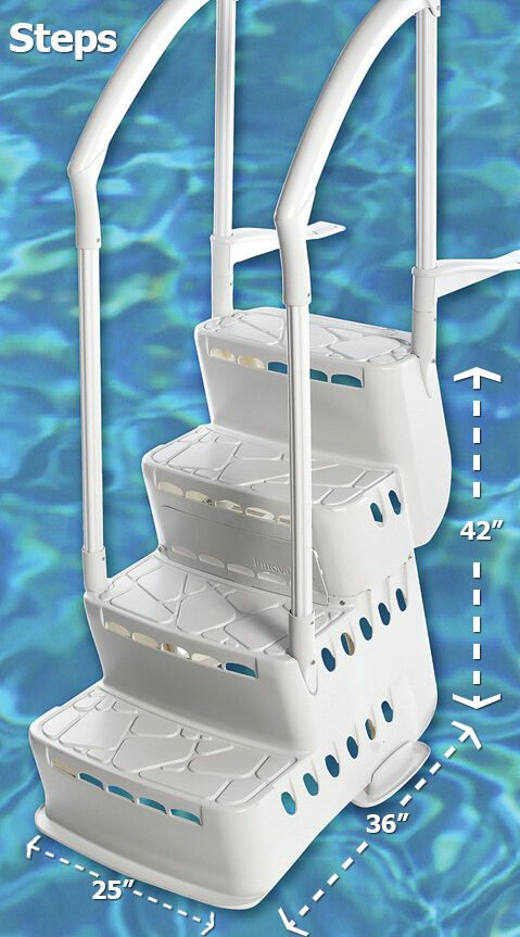 Complete in-Pool Step System with Strap Attachment Kit for Above Ground Pools