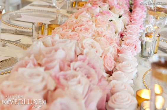 WedLuxe: This styled shoot inspired by Marie Antoinette is filled with pretty pink #wedding ideas (photo by: Krishanthi) - ombre #floral table runner composed of #roses