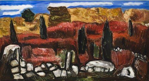 """Dogtown,"" Marsden Hartley, 1934, oil on hardboard, 20 3/4 x 33 1/2"", Weisman Art Museum."