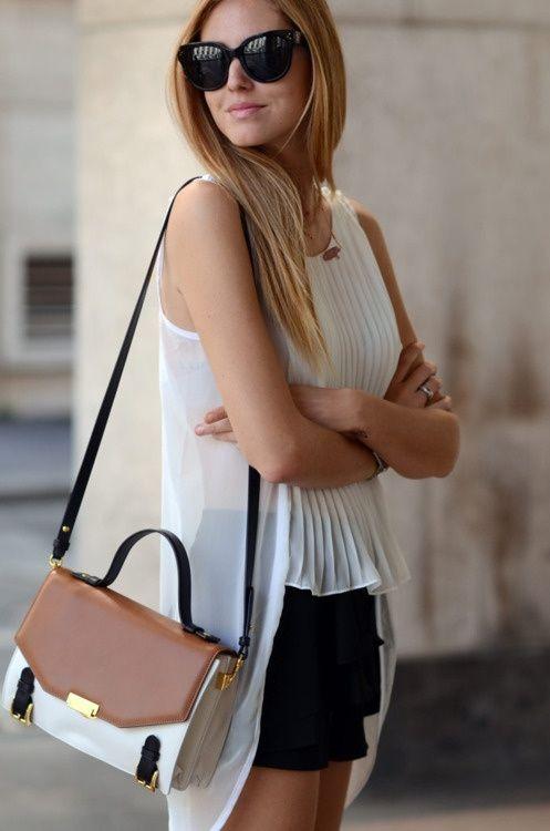 Black & White - blouse + shorts + bag + sunnies