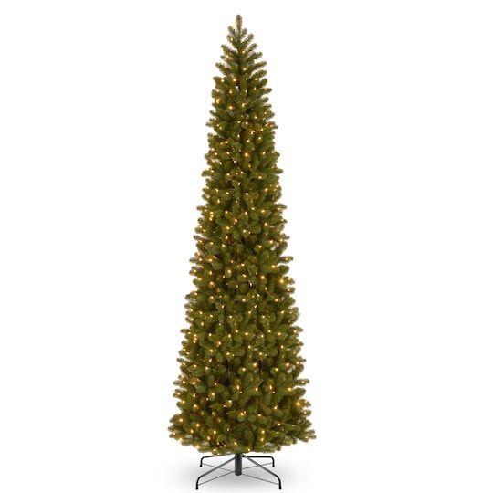 12 Ft Pre Lit Feel Real Downswept Douglas Fir Pencil Artificial Christmas Tree Clear Lights 12 Ft Pre In 2020 Artificial Christmas Tree Christmas Foyer Douglas Fir