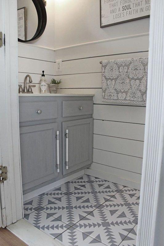 Patterned Tile Flooring Shiplap Wainscoting Shades Of Grey Smallbathroomtilefloor In 2020 Bathroom Tile Designs Best Bathroom Flooring Bathroom Floor Tiles