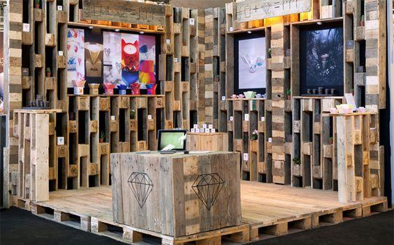Photo du0027un stand en palette - Stand pallet photo - Atelier Burel - küchen stall coesfeld