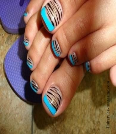 Nail art, Zebra print and Blue tips on Pinterest