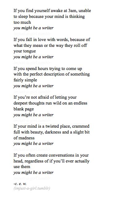 this is bizarre. I do. especially the last one.  could I be a writer?