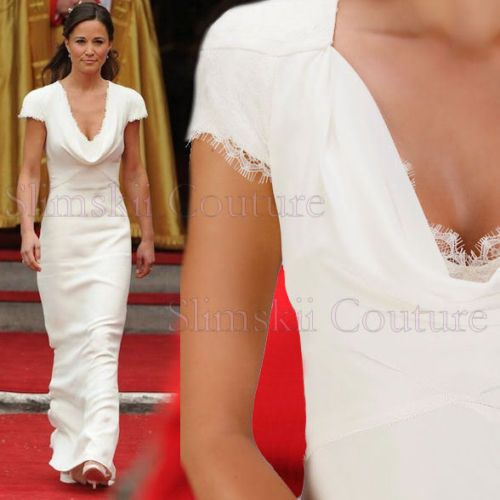 ABS Allen Schwartz IVORY Pippa Middleton Bridesmaid Gown Maxi Long ...