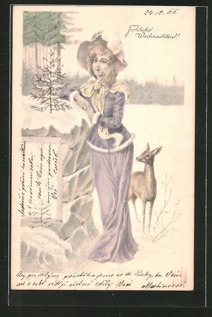 Alte Ansichtskarte: AK Weihnachten, Dame im Schnee mit Reh