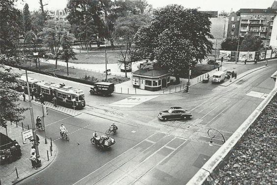 1953. A view of the Weteringsschans in Amsterdam, before the Weteringscircuit was built. On the left tramline 25 coming from the Ferdinand Bolstraat. Photo Jeroen Epema. #amsterdam #1953 #Weteringsschans