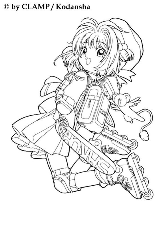 Coloriage de sakura en rollers coloriage manga for Cardcaptor sakura coloring pages