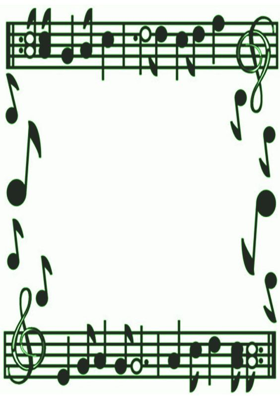 Music Notes Borders Frames Free | Green Music Border by ...