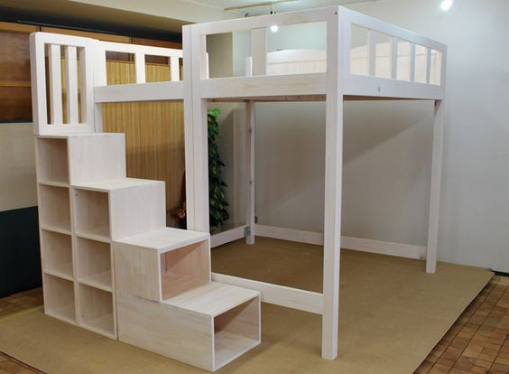 Teenager queen size loft bunk bed or bed at top & desk or a dress station down bottom =)