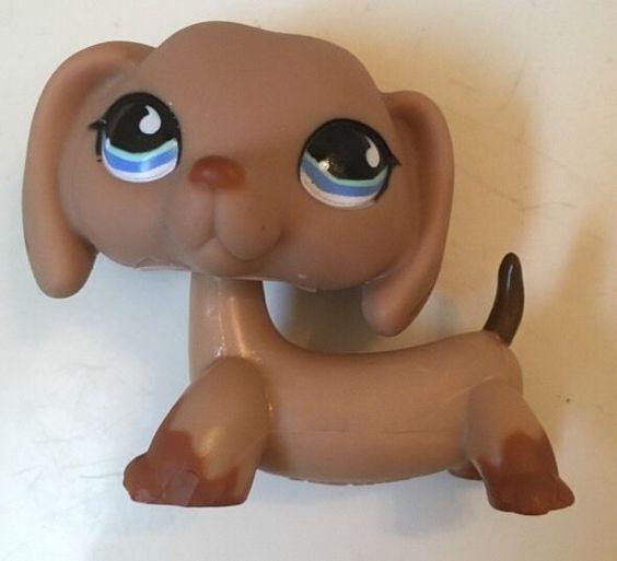 Littlest Pet Shop 518 Tan Brown Dachshund Dog with Blue Teardrop Eyes | eBay